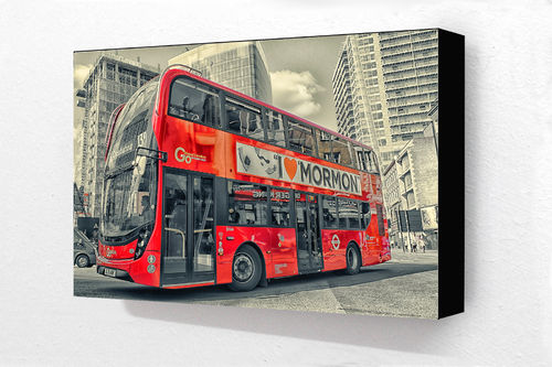 London Red Mormon Bus Block Mounted Print