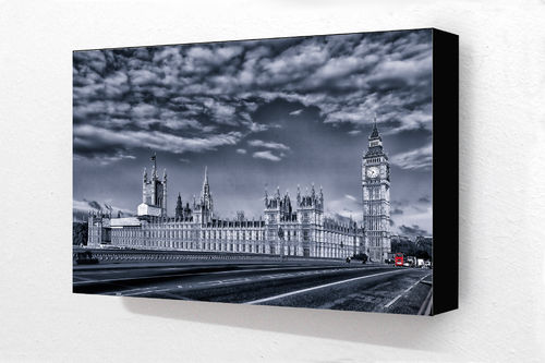 Houses of parliament Blue Block Mounted Print