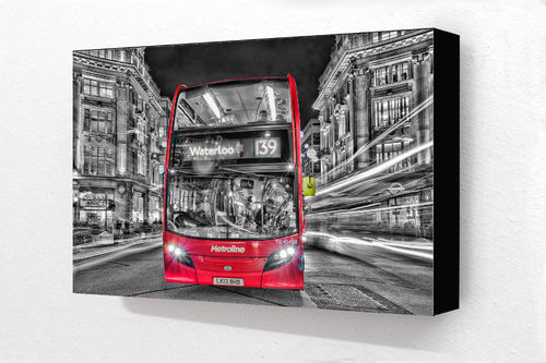 Red Bus Waterloo 139 H Block Mounted Print