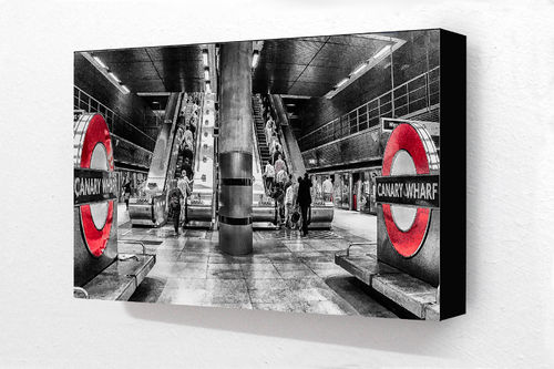 Canary wharf station Red Block Mounted Print