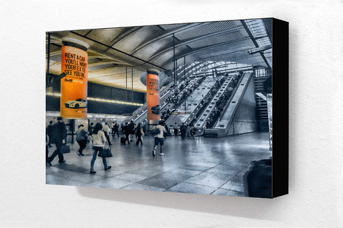 Canary wharf station orange Block Mounted Print