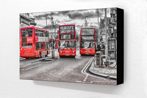 3 Red Buses Golders Green H Block Mounted Print