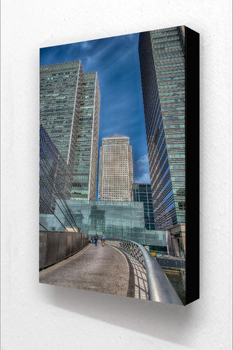 Canary Wharf 3 People V Block Mounted Print