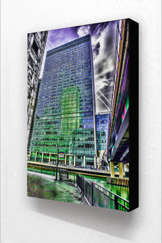 Canary Wharf Reflection VBlock Mounted Print