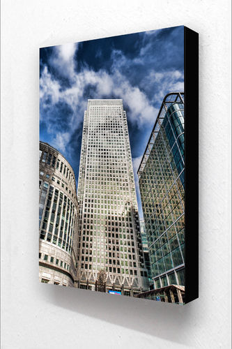 Canary Wharf 3 Buildings V Block Mounted Print