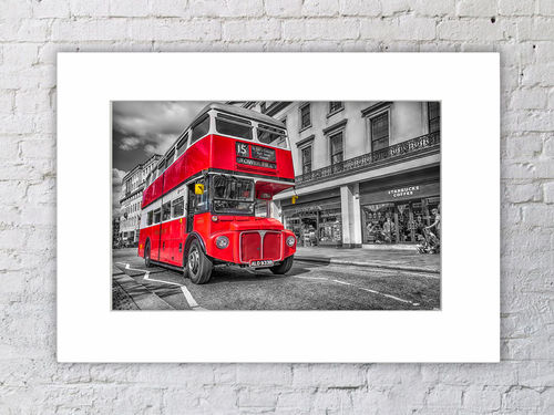 Tower Hill Red Bus 15 Mounted Print