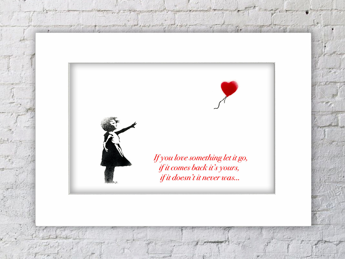Banksy Balloon Girl White text Mounted Print