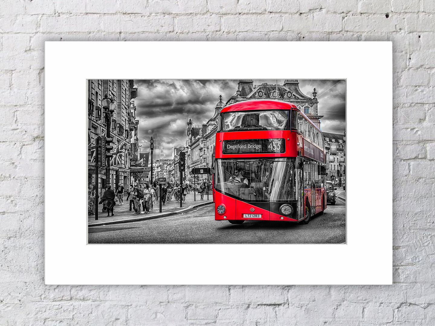 Deptford Bridge Red Bus Mounted Print