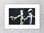 Banksy Pulp Fiction Guns Bananas Mounted Print