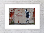 Banksy Rat Girl On Chair Mounted Print