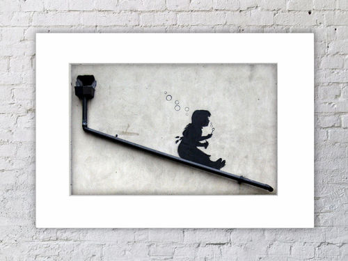 Banksy Bubbles Girl Drainpipe Mounted Print