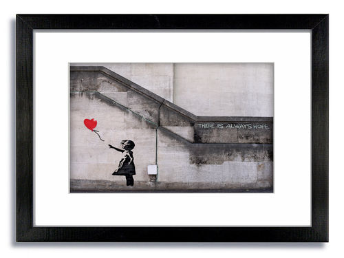 Banksy Balloon Girl There Is Always Hope   Framed Mounted Print