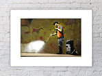 Banksy Street Cleaner Mounted Print