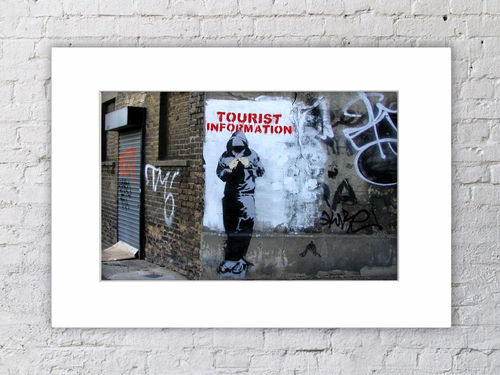 Banksy Colour Tourist Information Mounted Print