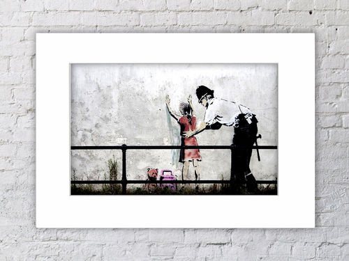Banksy Copper Searching Girl  Mounted Print