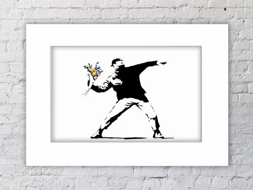 Banksy Flower Chucker Mounted Print