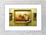 Banksy Cigarette Break Art Painting Mounted Print