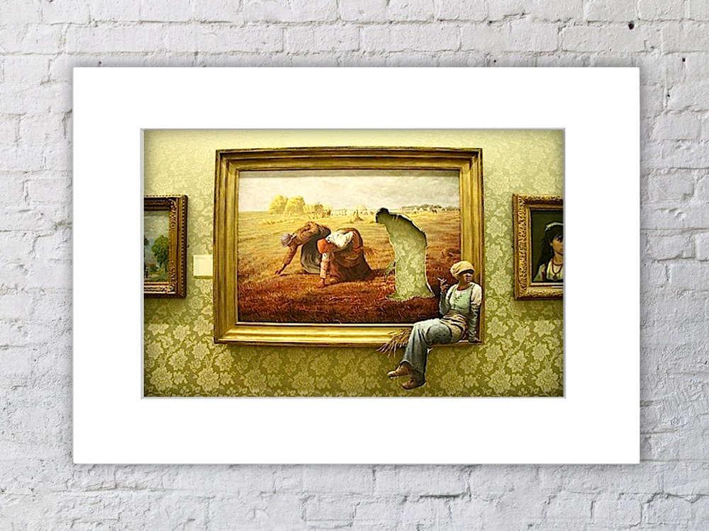 Banksy Cigarette Break Art Painting Mounted Print - Camden Town ...