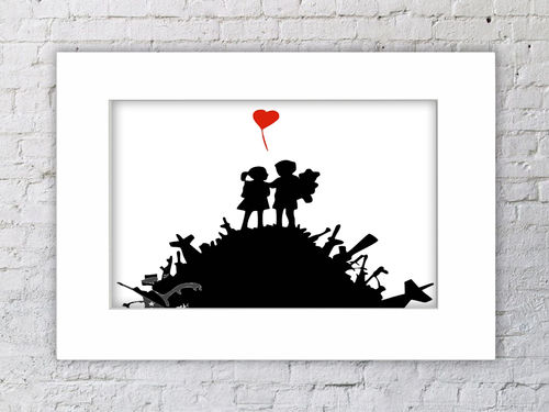 Banksy Boy & Girl  Weapons Mountain Mounted Print