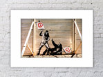 Banksy Hippie Peace Fight Mounted Print
