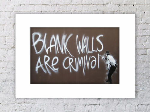 Banksy Blank Walls Are Criminal Mounted Print