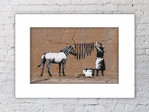 Banksy Zebra Stripes Mounted Print