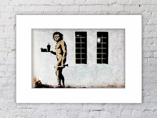 Banksy Fast Food Neanderthal Man Mounted Print