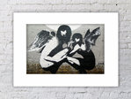 Banksy Angels Mounted Print