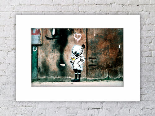Banksy Diver Helmet Girl Yellow Bird Mounted Print