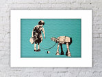 Banksy Girl Robot On Lead Horizontal Mounted Print