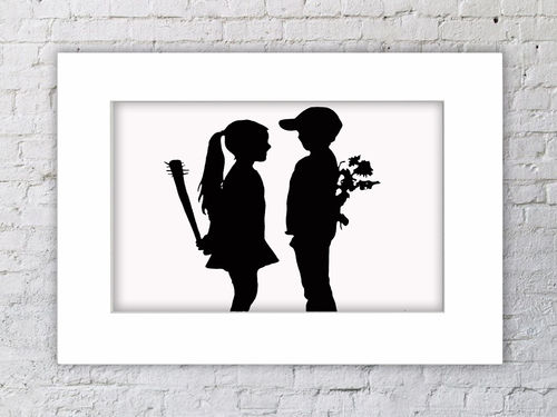 Banksy Boy & Girl Flowers & Baseball Bat Mounted Print