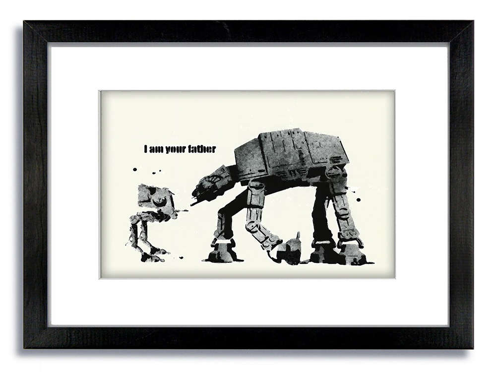 Banksy WHITE I am Your Father Mounted Print - Camden Town Poster Company