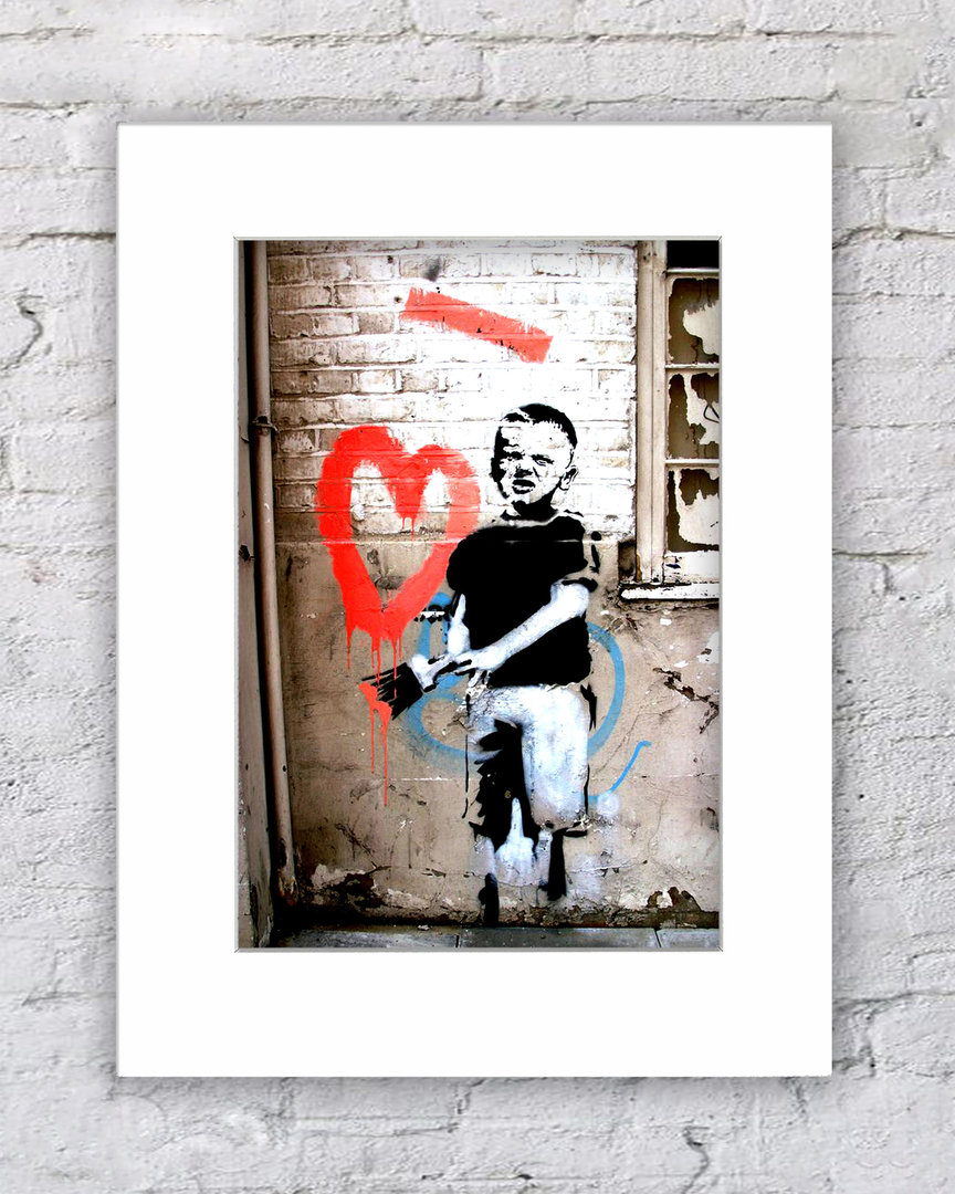Banksy Boy With Painted Heart !