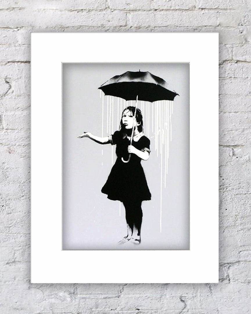 Banksy Umbrella Girl White