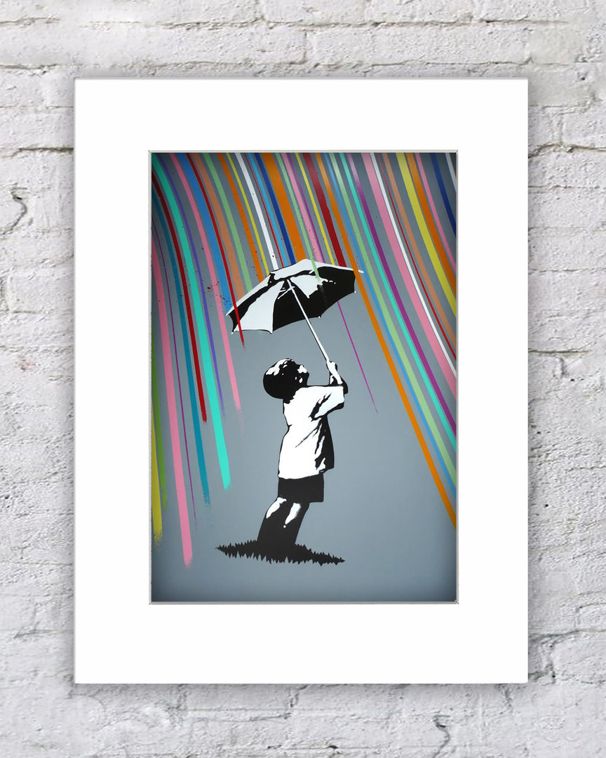 Banksy Rainbow Rain Umbrella Boy