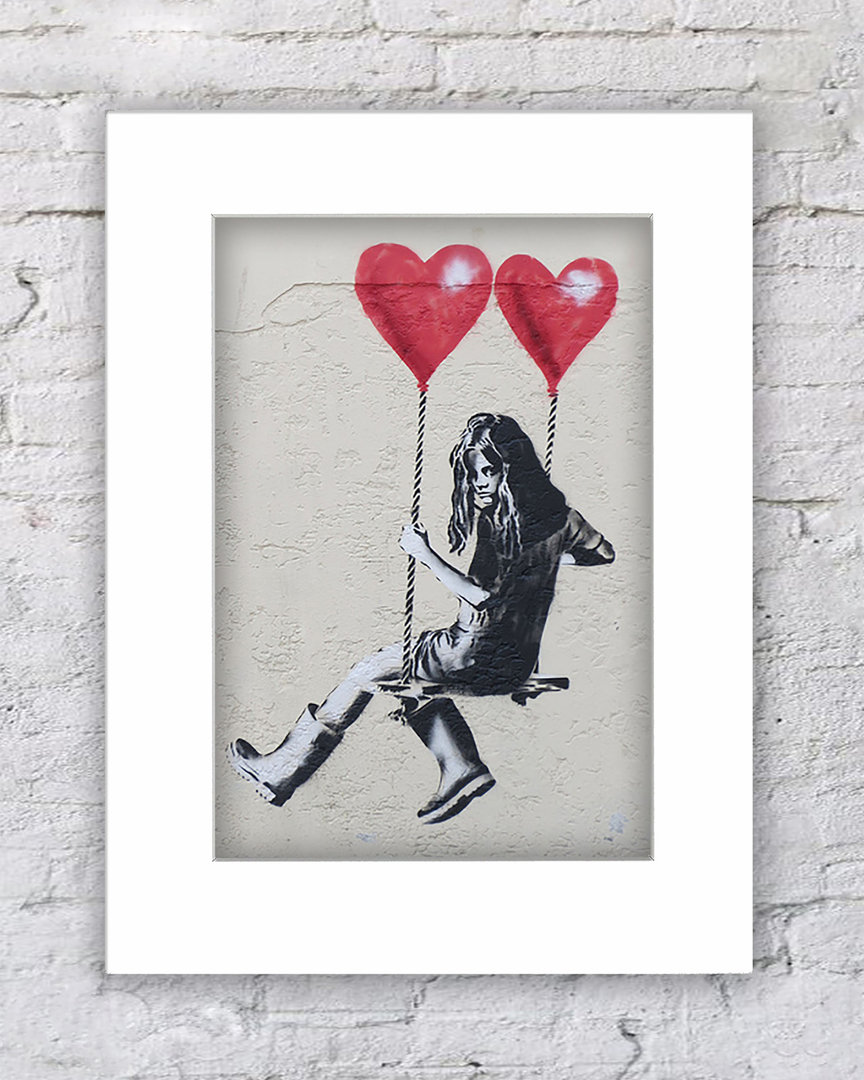 Banksy Balloon Hearts Swing Girl