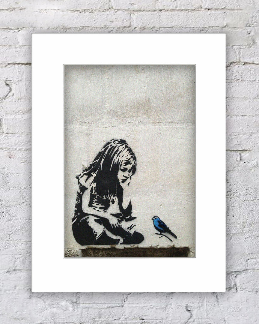 Banksy Girl Blue Bird