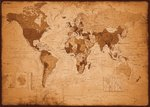 Vintage World Map - IN GERMAN LANGUAGE - Paper Poster
