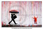 Banksy - Rainbow Happy Rain Girl - Mini Paper  Poster