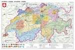 Schweiz Politisch - Switzerland Map in Swiss Languages - Maxi Paper Poster