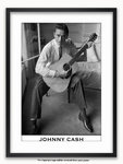 Framed with WHITE mount Johnny Cash - London 1959 - Poster
