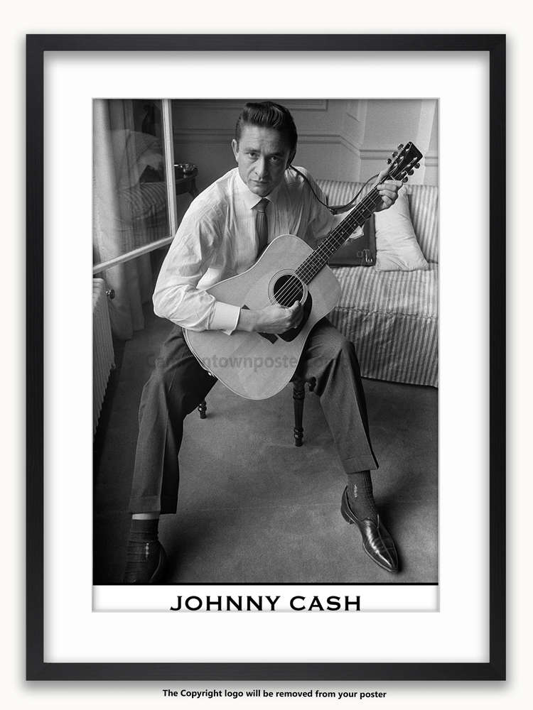 Framed with WHITE mount Johnny Cash - London 1959 - Poster - Camden ...